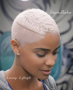 white shaved fade cut