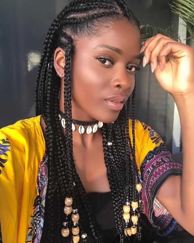 mid back length african braid
