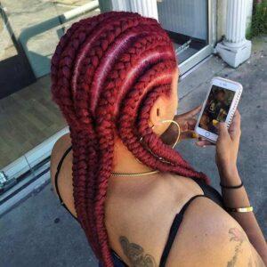 red cornrow hair