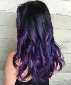 Black Hair with Purple and Violet Highlights