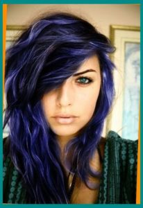 Black Hair with Indigo and Violet Highlights