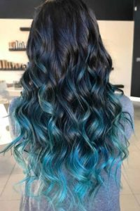 Black Hair with Teal Ombre