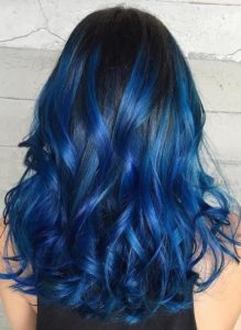 Bright Blue Highlights in Black Hair
