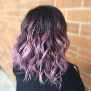 Lilac Highlights in Black Hair