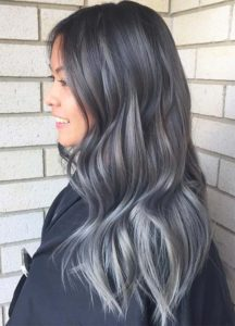 Silver and Grey Highlights in Black Hair