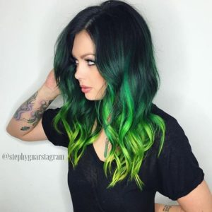 Lime Ombre in Black Hair