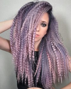 Long Lilac Toned Locks with Crimping