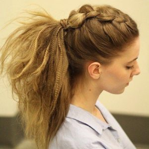 Bouncy Ponytail with Dutch Braid Crimped Hair