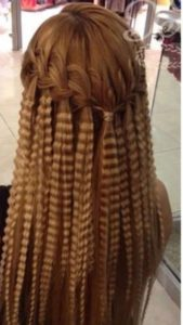 Waterfall Braid with Crimped Hair