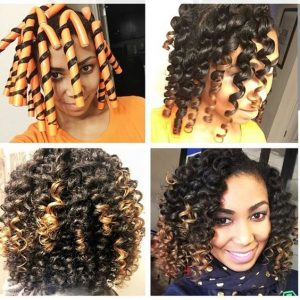 ombre Flexi Rod Set on Natural B Hair
