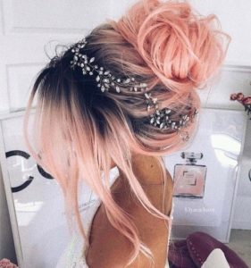 Blush Pink Messy High Bun