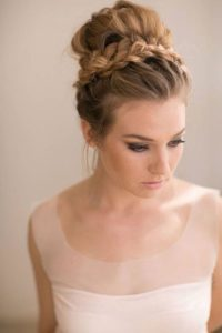 Messy High Bun with Wrap Around Braid