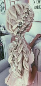 Herringbone Braid with Floral Crown