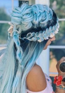 Icy Blue Bridal Fishtail Braids