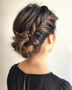 Messy Low Side Bun with Braid