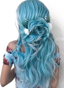 Pastel Blue with Half Floral Up-Do