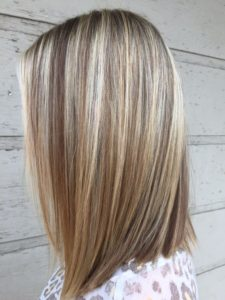 Ash Blonde with Caramel Highlights