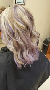 Caramel and lavender Highlights in a Blonde Base