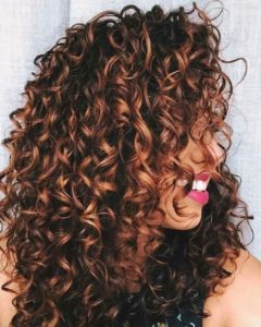 Natural Curls with Caramel Highlights