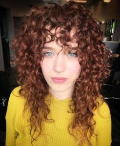 Long Light Curls with Bangs
