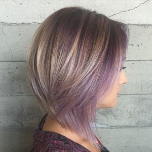 Ash Blonde with Face Framing Lilac HIghlights