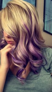Curly Blonde to Lilac Ombre