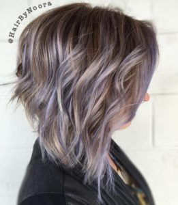 A-Line Bob with Lilac Highlights