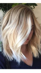 Messy Lob with Chunky Highlights