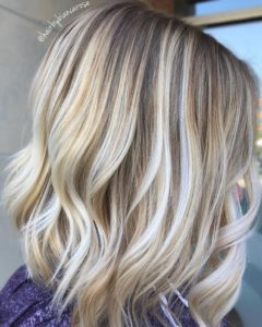 Wavy Lob with Toffee Highlights