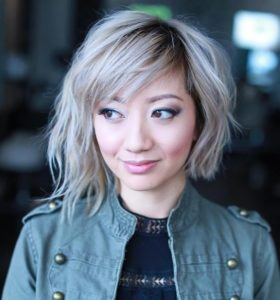 Asymmetric Bob with Wispy Bangs