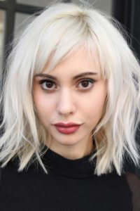 Platinum Lob with Short Side-Swept Bangs