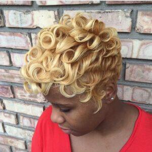 blonde pin curls
