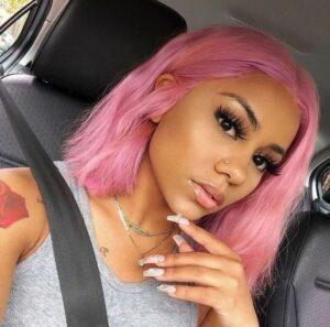 asymmetrical pink bob