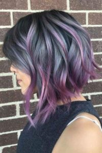 purple balayage messy bob