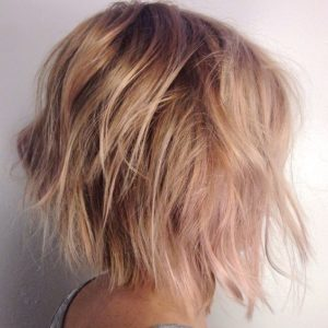 rose gold bob edgy cut