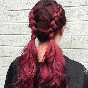 cherry crisscrossing braids