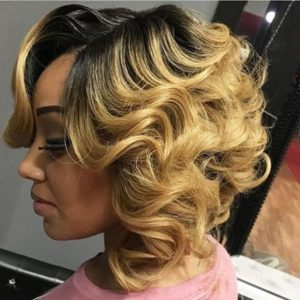 Blond tight waves bob