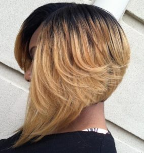 Blonde axis sew in bob