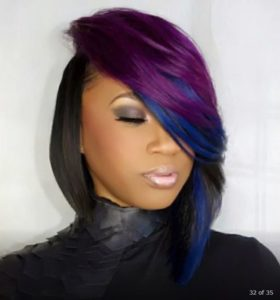 Blue orchid color sew in bob