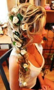 Romantic Side Braid with Flowers