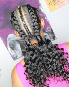 Braided middle part two braid with weave