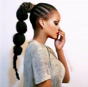 Bumpy ponytail braided with weave