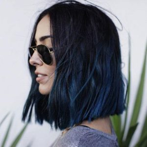 Black Bob with Dark Blue Highlights