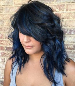Midnight Blue Balayage on Black Hair