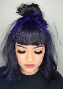 Blue Black Hair with Electric Blue Roots
