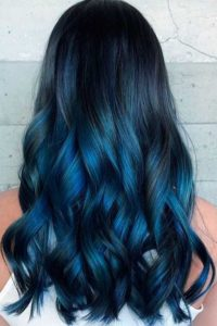 Deep Blue Hair with Dark Teal Balayage