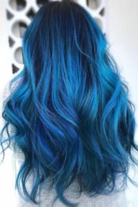 Dark Blue Roots with Teal Ombre