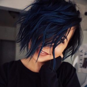 Midnight Blue Wavy Bob