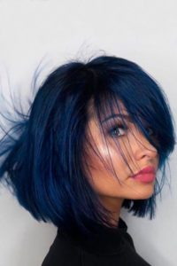 Navy Blue Bob with Bangs