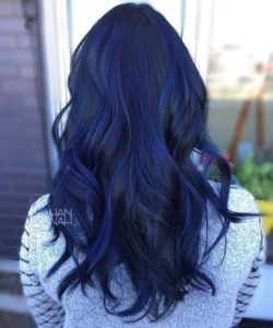 Navy Blue Hair with Subtle Electric Blue Balayage